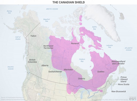 the shieldplus a tough climatehas made much of ontario quebec and other regions difficult to inhabit this has forced population centers to develop